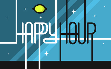 Happy Hour San Serif Custom Lettering On A Night Sky Space Backg