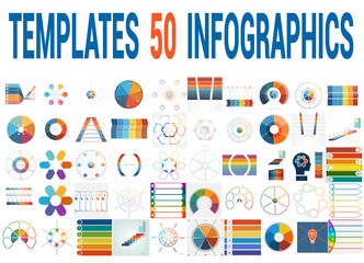 50 Vector Templates for Infographics for six positions.