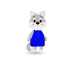 Сute cartoon Cat on a white background, can be used for wallpaper, design, card, invitation.