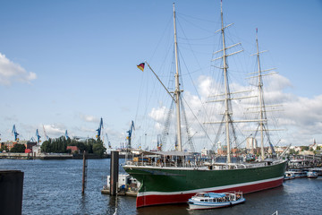 Port Hamburg Germany big sailing boat in Harbor