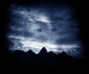 Beautiful Dark Night Sky And Trees, Vintage Grunge Wallpaper, Textured Background