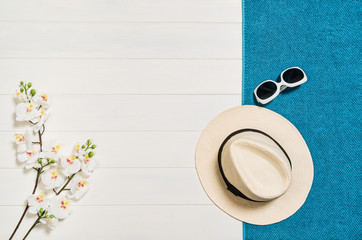Top view of beach summer accessories with copy space.