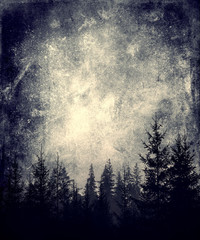Beautiful Landscape View. Trees And Sky. Vintage abstract background