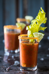 Mini Spicy Bloody Mary Shooters