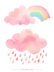 Watercolor clouds with rain and rainbow