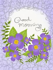 Good morning handwriting on flower wreath  watercolor frame