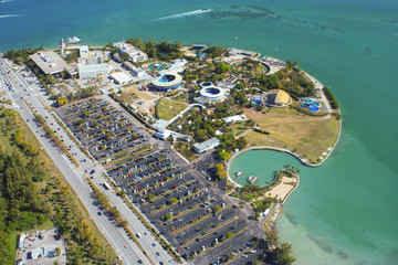 Aerial view of Miami Seaquarium and marina in Key Biscayne Florida