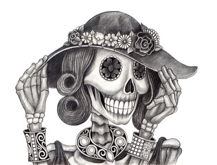 Skull art day of the dead.Art design women skull fashion and jewelry model  action smiley face day of the dead festival hand pencil drawing on paper.