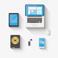 Flat design concept of computer and mobile devices