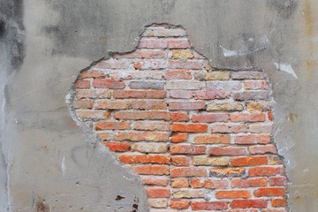 brick wall texture. Antique  cracked of cement