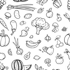 Fruit and vegetable, vegan food doodle, sketch vector seamless background
