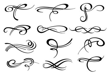 Victorian calligraphic swirl romantic flourish decoration vector set