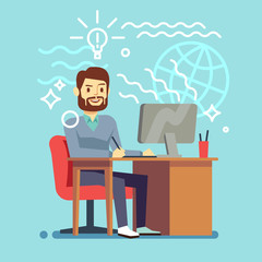 Young designer man working at computer. vector creative process concept