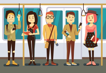 Man and woman with smartphone, gadgets book in public transport vector illustration