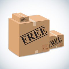 free  sign on package boxes.