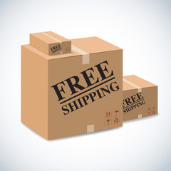 free shipping sign on package boxes.