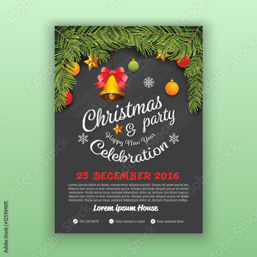 Christmas Happy New Year Party Flyer Template Decoration With Chalkboard Background