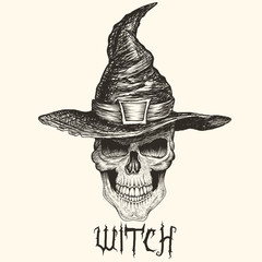 Head of witch with hat