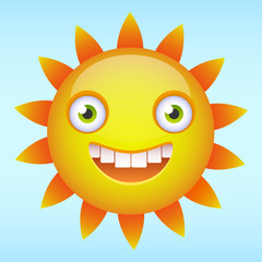 Happy smiling sun cartoon character. Vector illustration.