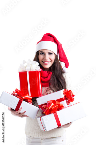 Christmas Shopping Woman Holding Many Christmas Gifts In