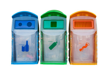 Three recycle containers for glass, plastic ,other isolated on w