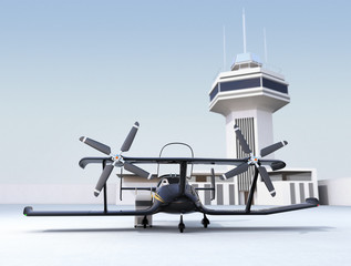 Autonomous flying drone taxi in airport. 3D rendering image.