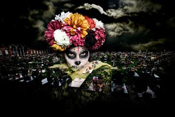 Frauenportrait Dia de los Muertos