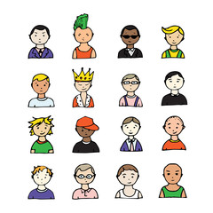 set of hand drawn doodle faces. funny portraits. vector avatar