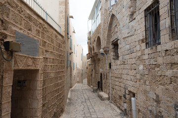 Narrow street of old Yaffa, Israel.
