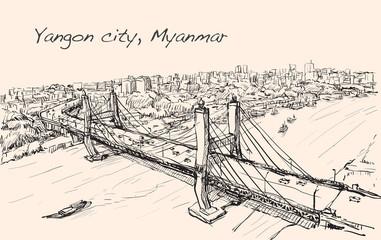 sketch cityscape of Yangon, Myanmar show topview Maha Bandual br