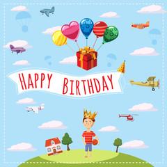 Happy birthday landscape concept. Cartoon illustration of Happy Birthday landscape vector concept for web