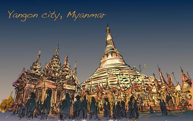 sketch cityscape of Yangon, Myamar image of Shwedagon pagoda, fr