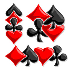 Vector logo cards Suits, three abstract set gamble Poker card suits: black spades, red hearts, diamonds, clubs for icon casino, poker club, emblem for gambling games, isolated on white background.