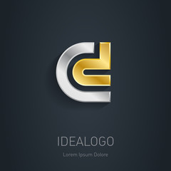 C and D initial, silver and gold logo. Metallic 3d icon or logot