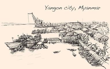 sketch cityscape of Yangon, Myanmar skyline, show Docks at Pazun