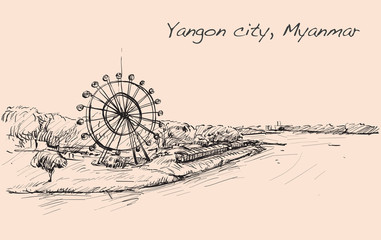 sketch cityscape of Yangon, Myanmar on topview show river and lo
