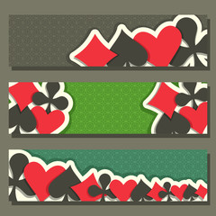 Vector logo of holdem Poker, blackjack suit for gambling game on green texture felt in casino club, cover banner for pokers gamble games, header cards suits: black spades, red hearts, diamonds, clubs.