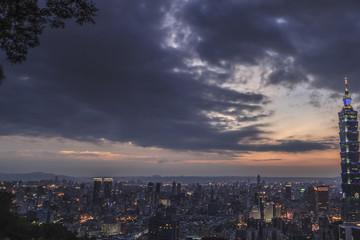 The nightview sunset in Taipei