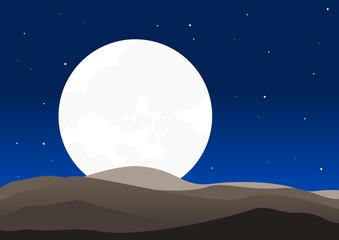Moon in The Night | Editable vector illustration