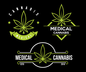 set of green medical cannabis emblem, logo . classic vintage labels on black background