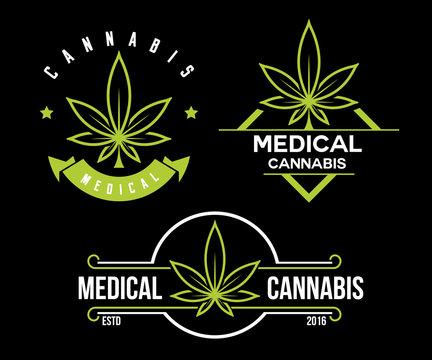 set of green medical cannabis emblem, logo . classic vintage labels on black background
