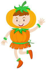 Kid in pumpkin costume for halloween