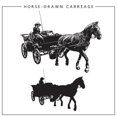Vector Image of a Horse-drawn Carriage, Horse Cart with Coachman. Isolated black and white picture and silhouette.