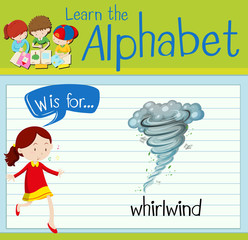 Flashcard letter W is for whirlwind