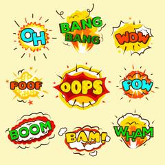 Comic Explosion Bubbles Set