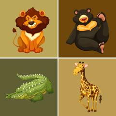 Four types of wild animals on brown background