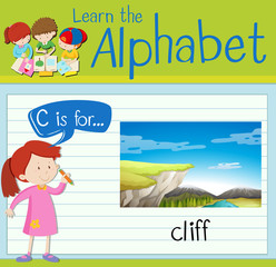 Flashcard letter C is for cliff