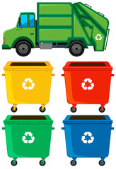 Different color trashcans and truck