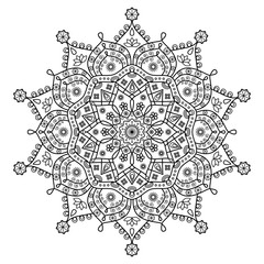 Floral oriental mandala ornament for coloring book pages & mehndi tattoo designs.