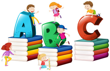 Children and english alphabets